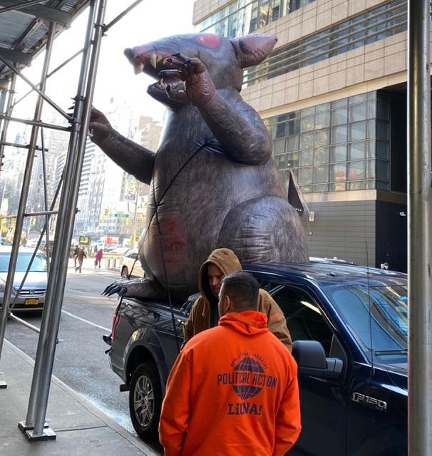 The giant inflatable rats, like the one currently at Columbus Circle, are often referred to colloquially as
