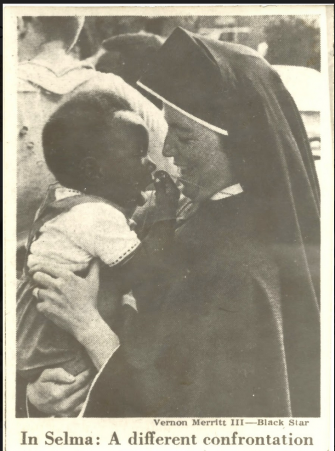 In a photo published in Newsweek on March 29, 1965, the Selma to Montgomery marches, the writer's great aunt holds a young child.