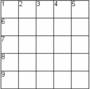blank crossword grid, 5 by 5