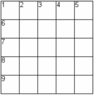 blank crossword grid, 5 by 5