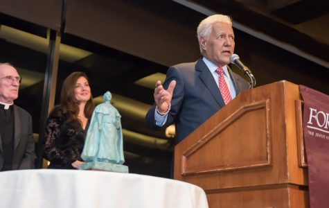 Trebek accepts the Fordham Founder's Award with an inspiring speech about the 'power of prayer' in his life at the Bel-Air Country Club