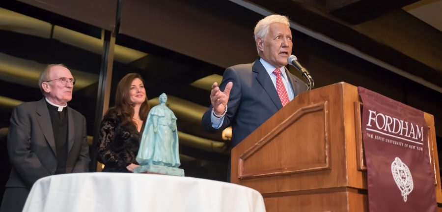 Trebek+accepts+the+Fordham+Founder%27s+Award+with+an+inspiring+speech+about+the+%27power+of+prayer%27+in+his+life+at+the+Bel-Air+Country+Club
