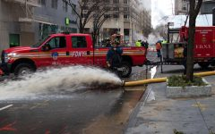 Firefighters and City Employees worked to repair the damage of the ruptured water main on 62nd Street and Broadway avenue.