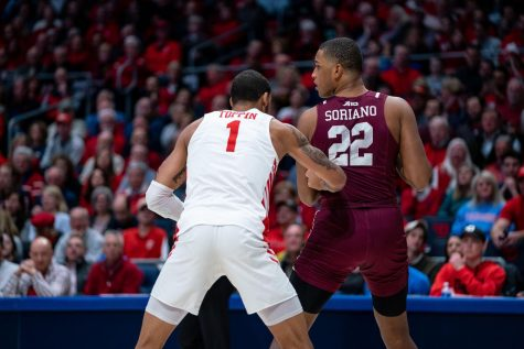 Joel Soriano, FCRH '23, looks to score against an elite Dayton defense.