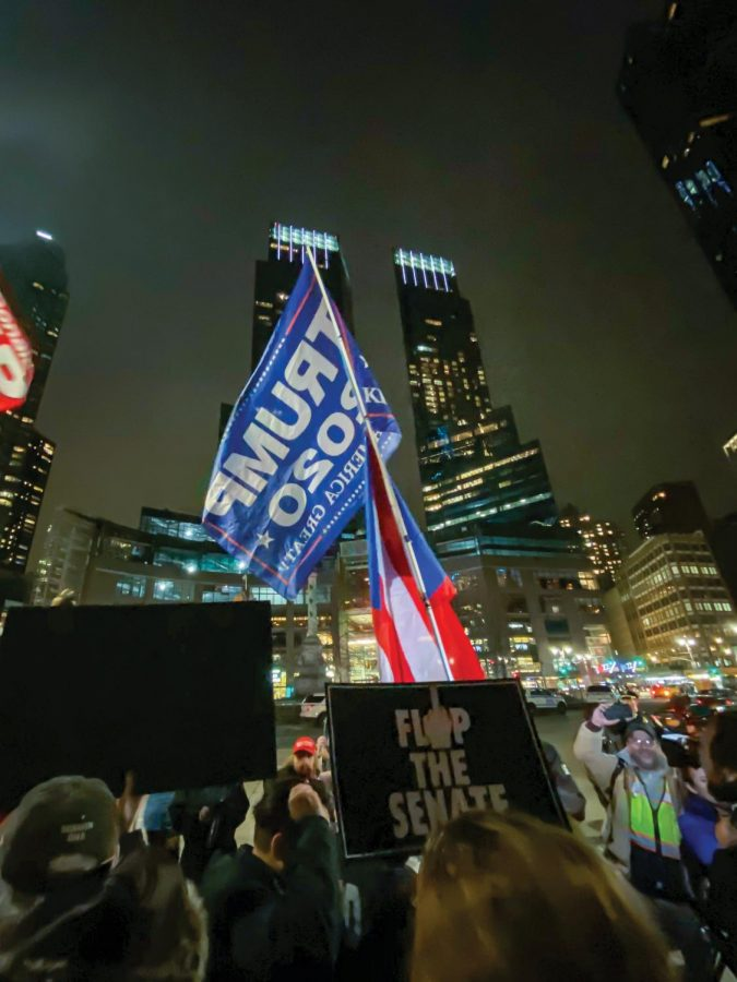 Protesters in Columbus Circle chanted