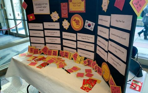 Informational display about the Lunar New Year set up in the Lowenstein lobby.