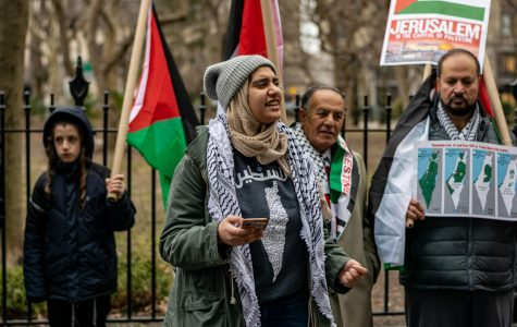 Newly recognized student club SJP rallies at City Hall for Palestinian rights.