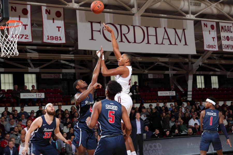 Joel+Soriano%2C+Fordham+College+at+Rose+Hill+%28FCRH%29+%E2%80%9923%2C+managed+11+rebounds+in+the+match+against+Richmond.