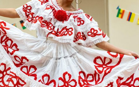 Jade Appel, FCLC '21, walked the fashion show in a polleta, the national dress of Panama that exhibits traditional Panamanian stitchwork.
