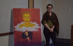 Andrew Connelly created a painting based on the Daedalus and Icarus myth for the art show.