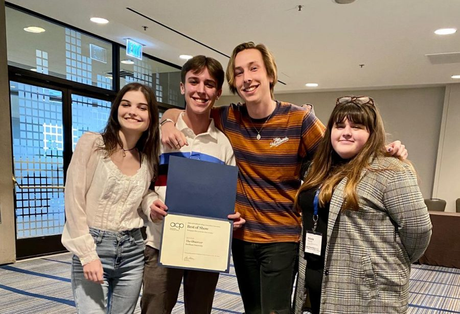 Left to right: Editors Lara Foley, Ethan Coughlin, Joe Kottke and Nicole Perkins accepted the ACP award on behalf of The Observer.