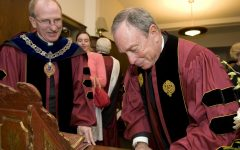 The Rev. Father McShane, S.J., seen with Michael Bloomberg during the Class of 2009 Commencement. McShane reportedly had a conversation with California Representative Juan Vargas, highly praising Mr. Bloomberg when he was running for president.