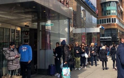 Lines are long in NYC supermarkets due to Coronavirus concerns.