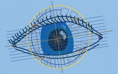 Graphic illustration of an eye being scanned