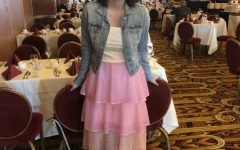 Holmquist in handmade pink skirt