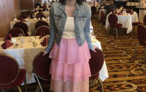 Holmquist in handmade pink skirt