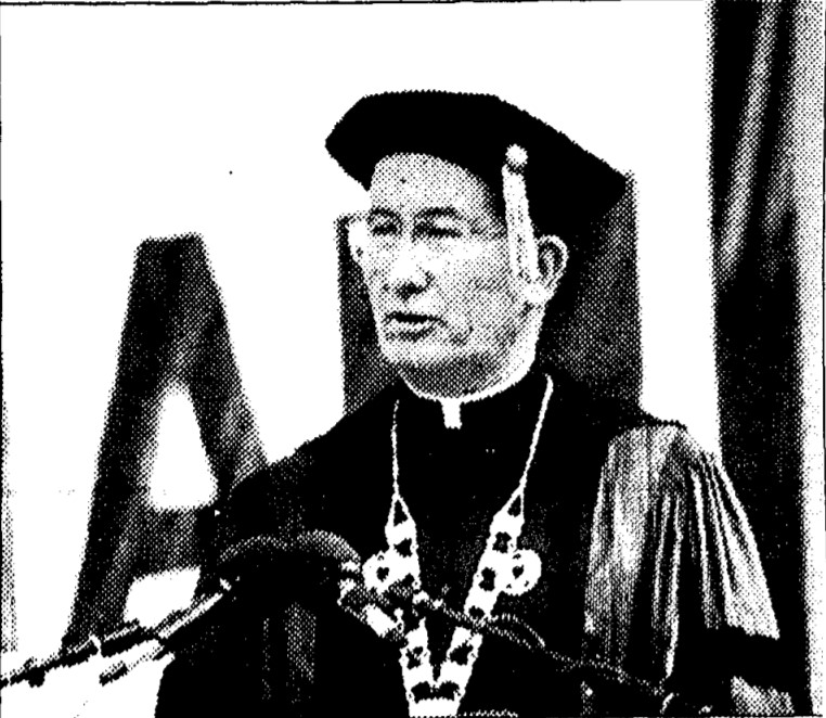O'Hare speaking at his inauguration
