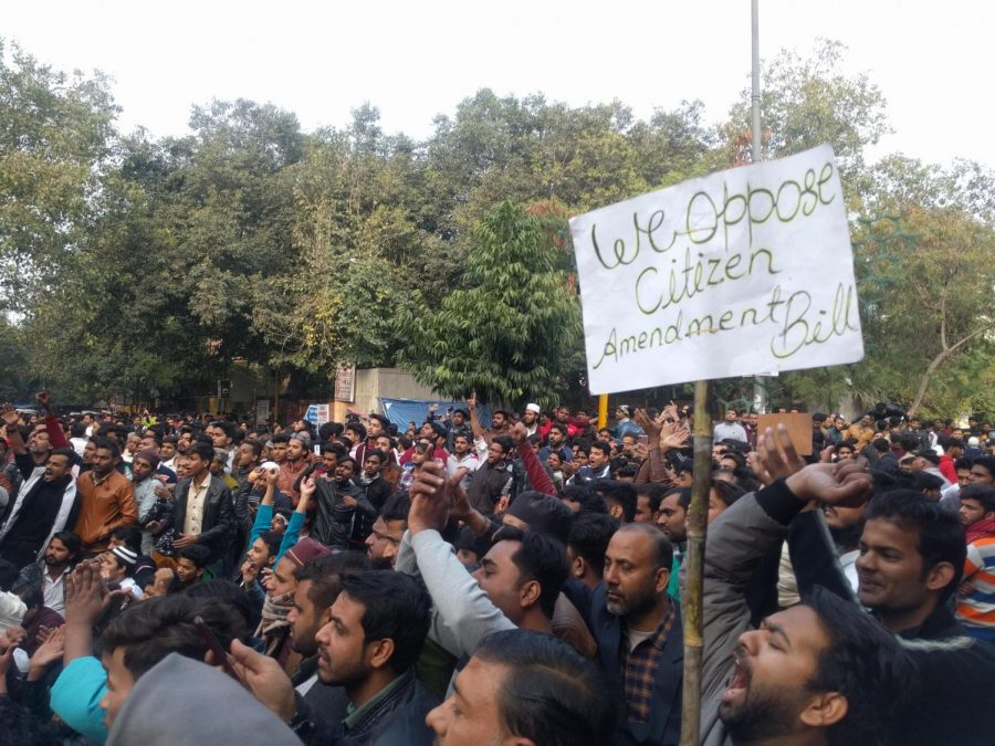 Students from National Islamic University march with locals in opposition to the CAA on Dec. 15, 2019, in New Delhi.The act promises equality but deliberately excludes Muslims.