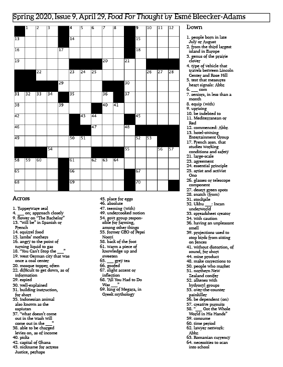 crossword+puzzle+grid+and+clues