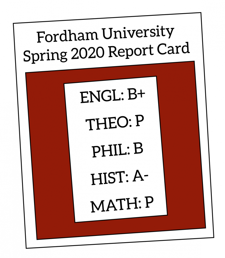 A spring 2020 report card reflecting both letter grade options and pass/fail options