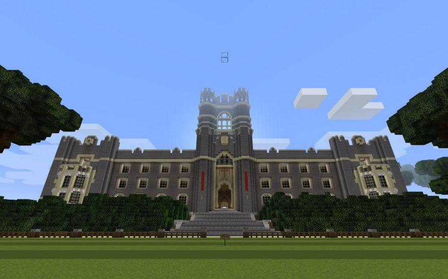 Keating Hall, pictured here, is the starting point for players when they enter the Minecraft server. The digital campus is intended to help strengthen our community and aid the mental wellbeing of students.