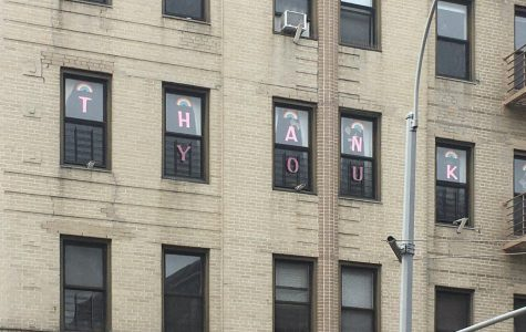 a thank you sign appears in the window of a building for health care images