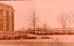 a picture of Fordhams baseball team playing against Yale on Eddies in 1902