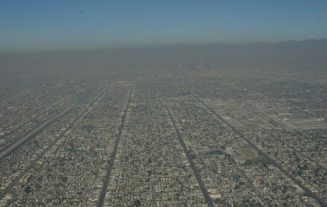 Aerial view of L.A. with smog