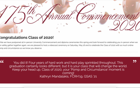A screen capture of the commencement website congratulating seniors on finishing their undergraduate careers.