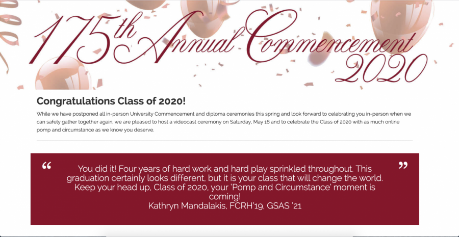 Commencement will take place virtually on Fordham's Commencement Website and in-person when it is safe to do so. Students farther away from campus are concerned about not being able to return for the in-person ceremony.