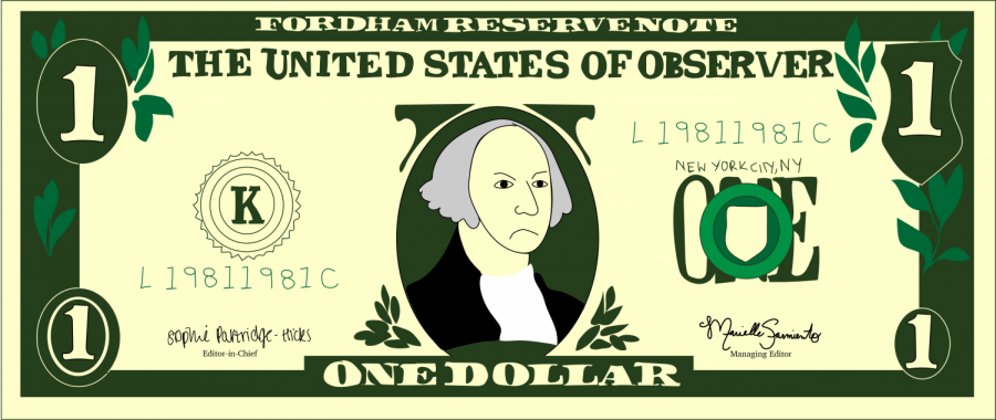 drawing of a one dollar bill with George Washington frowning