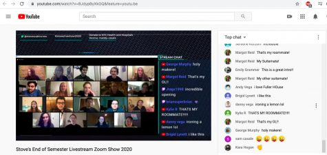 screenshot of the full cast from the YouTube livestream