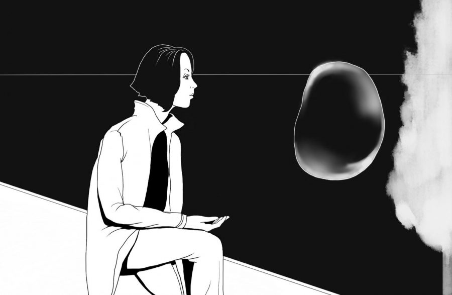 black and white drawing of a woman sitting in profile, looking at a bubble