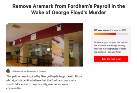 petition for fordham to remove aramark from its payroll