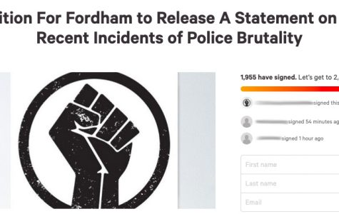a screenshot of the petition asking the university to make a statement on recent incidents of police brutality