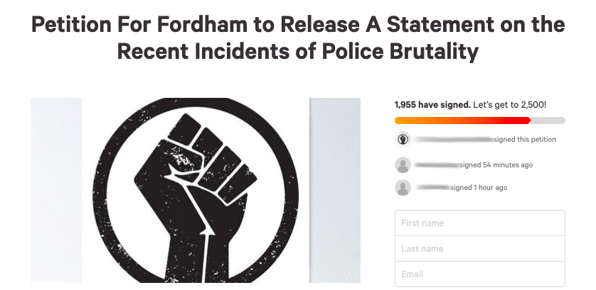 a+screenshot+of+the+petition+asking+the+university+to+make+a+statement+on+recent+incidents+of+police+brutality