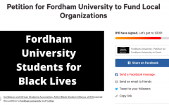 screenshot of a petition asking fordham to donate to local organizations