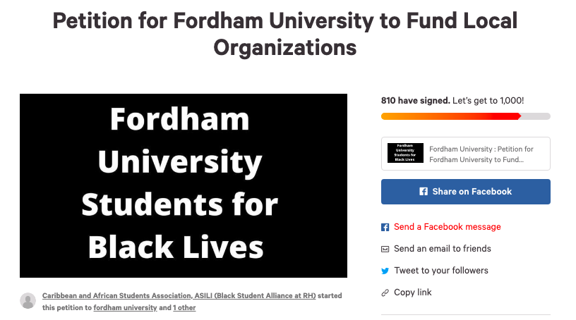 screenshot+of+a+petition+asking+fordham+to+donate+to+local+organizations