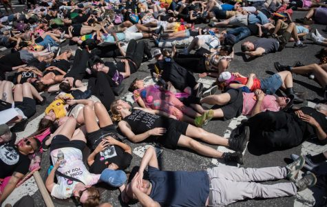 Protesters lie down in the street