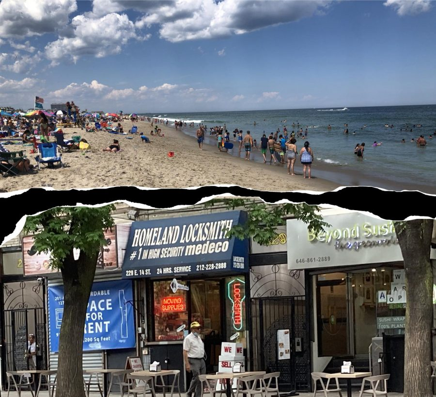 collage of a crowded beach that reopened and an empty new york street photo