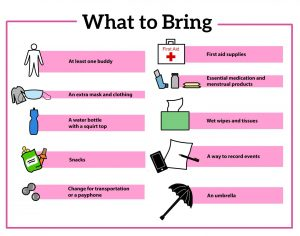 graphic with what to bring to a protest