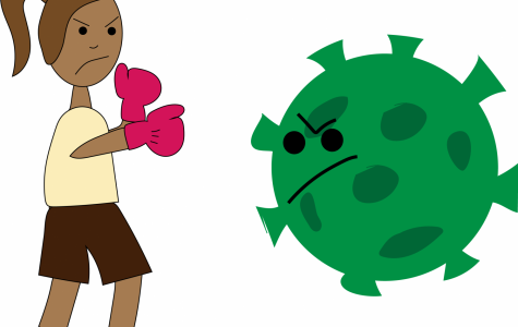 Graphic of a Girl boxing Coronavirus