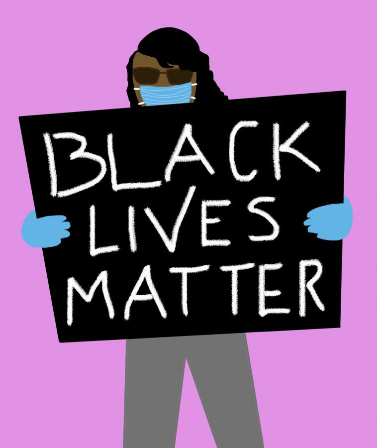 Artwork of person with face mask and gloves protesting with a BLM sign