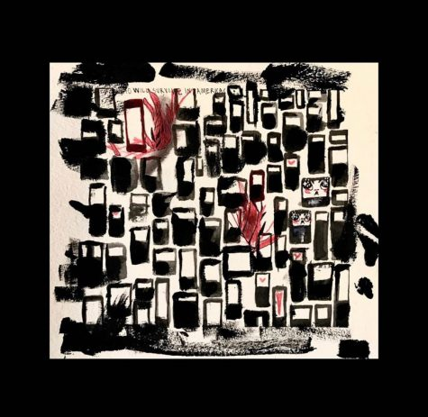 a painting of black and maroon rectangles with a black border