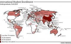 a map showing the distribution of Fordham international students in the fall 2019 semester