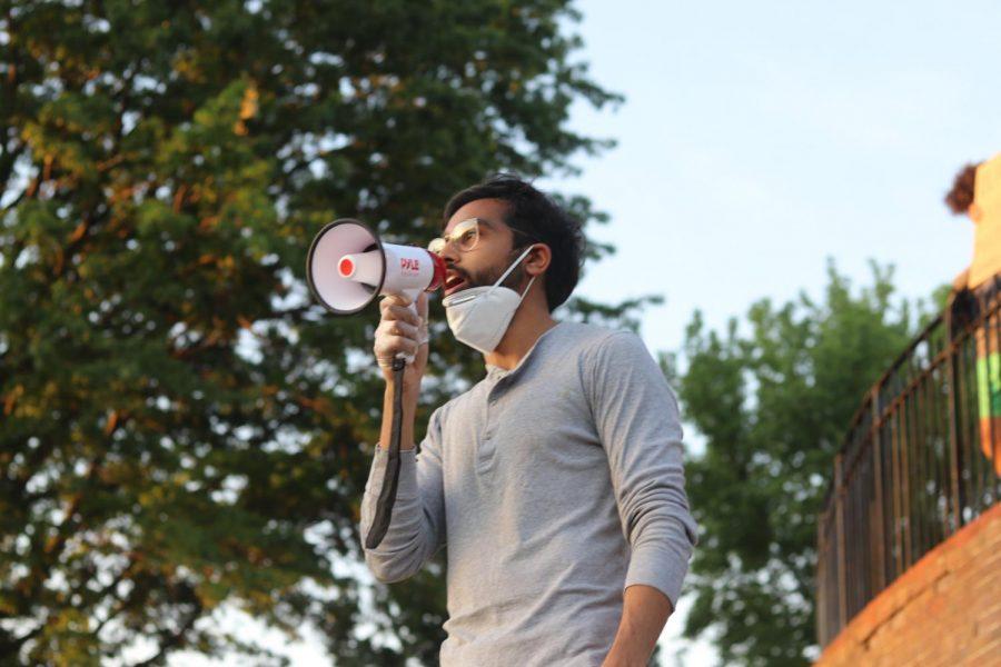 Mahfuzul with a megaphone