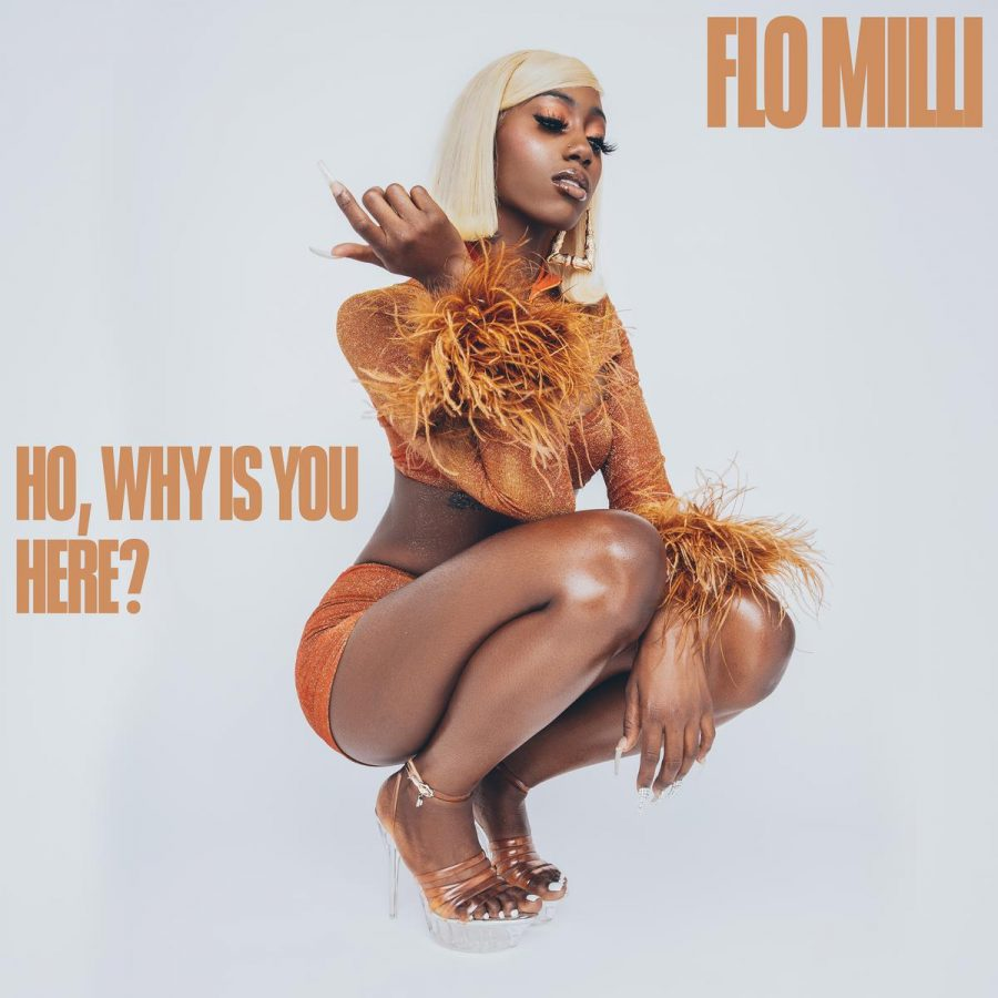 album cover for flo milli, featuring a woman squatting down, dressed in orange