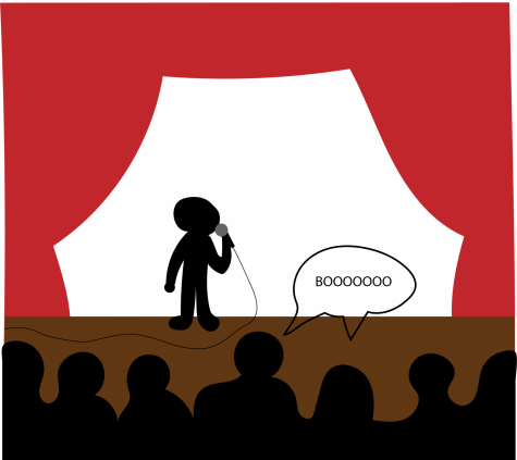 a graphic of someone getting boo'd on a stage