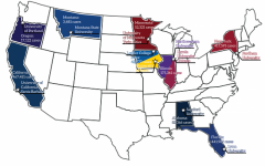Map of the colleges and universities mentioned in the article