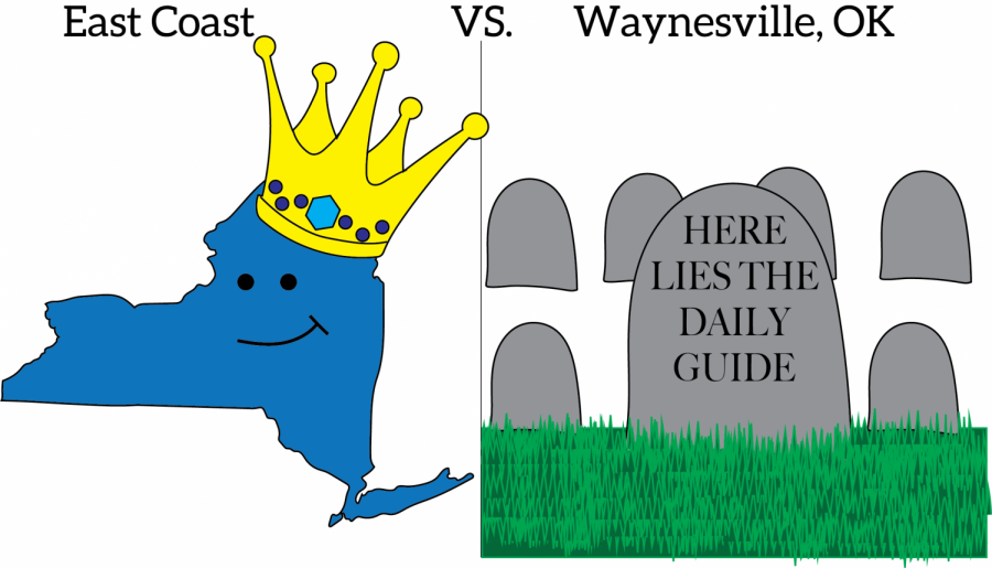 graphic illustration of the state of new york wearing a crown on the left and a graveyard with a grave that reads